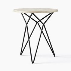 When art turns functional: Our Adeline Side Table's white bone tiles are inlaid by hand to form its off-white top, contrasted with a sculptural bronze-finished base. Rustic Side Table, White Side Tables, Modern Side Table, Round Side Table, End Tables, West Elm Side Table, Small Furniture, Furniture Decor, Furniture Design