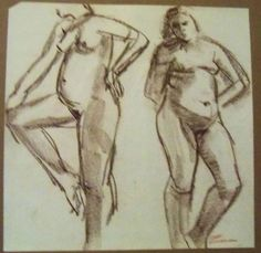 """TWO FEMALE NUDES""  Ruth Freeman CONTE' /NEWSPRINT PAPER 17"" X  17 1/4""  #Realism"