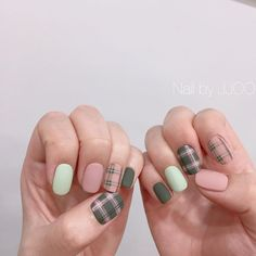 Summer Nail Designs - My Cool Nail Designs Teal Nails, Plaid Nails, Pastel Nails, Acrylic Nails, My Nails, Plaid Nail Art, Perfect Nails, Gorgeous Nails, Cute Nails