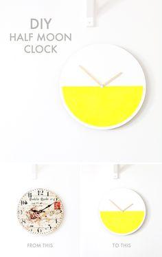 Klocka av Sofia Milk Colour Block, Color Blocking, Moon Clock, Block Wall, Juni, Craft Tutorials, Stationary, Bedroom Ideas, Diys
