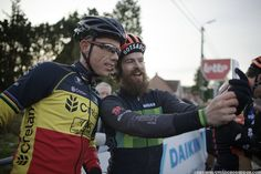 BAAL 1-1-2015: Sven Nys and Canadian rider Mark McConnell going for a Sven-selfie at the start of the race- Cyclocrossrider
