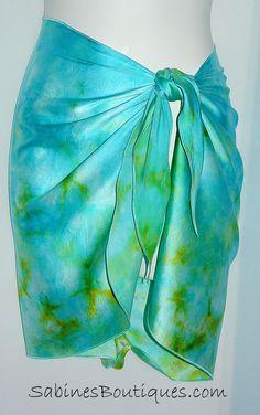 Hand painted silk mini skirt sarong wrap