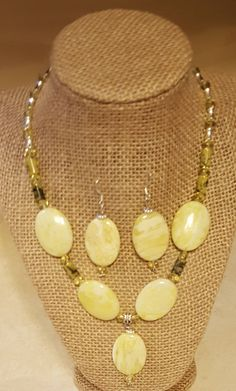 Semi-Precious Stone Jewelry Set, Beaded Necklace and Earring Set, Lemon Jade Beaded Jewelry,  Necklace, Earrings, Antique-Style Jewelry by WEEDsByRose on Etsy