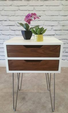 Mid-Century Modern, Nightstand, Bedside Table, White End Table, Walnut, Hairpin…
