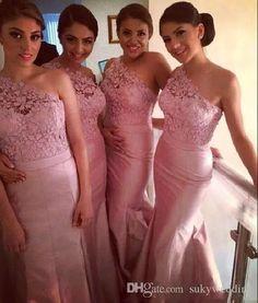 7ef1980407bd9 Cheap Long Bridesmaid Dresses for Weddings Lace Mermaid Pink Taffeta Wedding  Party Dress One Shoulder Illusion