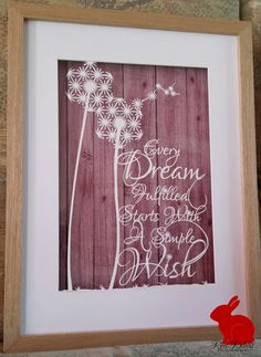 Dandelion Wish Dream Papercut Paper Cutting by RedRabbitBoutique