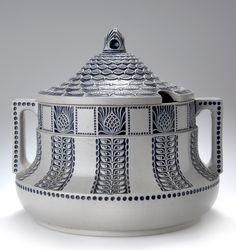 Albin Müller, Secessionist punch bowl, 1909, glazed stoneware, 30cm H.