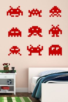 Geek nerd on pinterest wall art decal wall stickers and decals - Space invader wall stickers ...