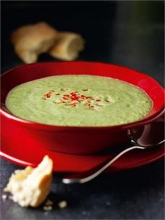 Brocolli and cheese soup. Doesn't look anything like this. Pretty good.