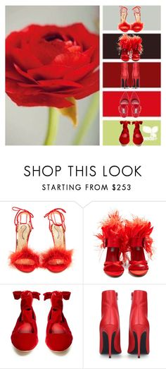 """""""Red shoes"""" by matan-sowatskey on Polyvore featuring Charlotte Olympia, Prada, The Row and Kurt Geiger"""