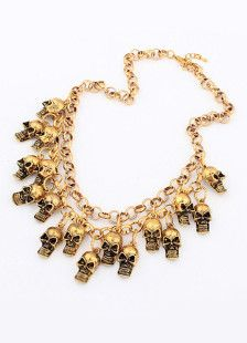Skulls Design Gold Metal Fashion Necklace For Women