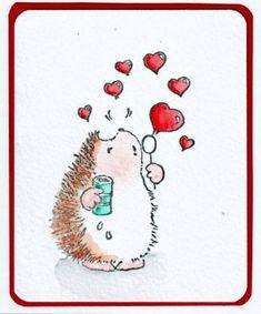 Hedgehog blowing heart bubbles