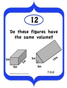 20 Task Cards that align to the common core standard 7.G.6   Solving real-world and mathematical problems involving area, volume and surface area of two- and three-dimensional objects composed of triangles, quadrilaterals, polygons, cubes, and right prisms.