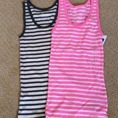 Gap Striped Tank Top Bundle - NEW LISTING 2 Gap Striped Tank Tops, Both NWT. There is a grey / cream & a pink / white. Both colors are slightly heathered, perfect for spring!! GAP Tops Tank Tops