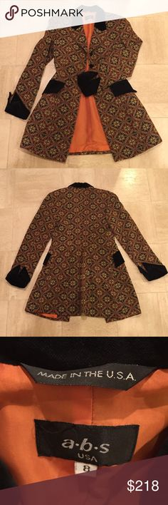 A.B.S. by Allen Swartz tapestry steampunk jacket. A.B.S. by Allen Swartz brand Gold tapestry cloth and black velvet steampunk jacket. Impeccable condition, size 8. A.B.S. Jackets & Coats