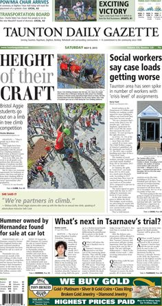 The front page of the Taunton Daily Gazette for Saturday, May 9, 2015.