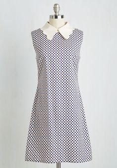 Scrapbook Review Dress - Multi, Blue, Print, Scholastic/Collegiate, Shift, Sleeveless, Woven, Better, Work