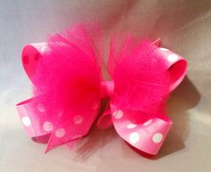 """4"""" Twisted Boutique Hair Bow with Tulle Accents Pink with White Polka Dot Grosgrain Ribbon Covered Metal Alligator Clip with Slip Resist Pad Adorable mid-size boutique hair bow, compatible with my int"""