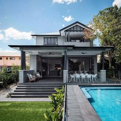 55 Awesome Home Exterior Design Ideas. You can fix your home exterior design even if you do not have much money. In this article I am going to talk about the ways to improve your home exterior design. Style At Home, Exterior Design, Interior And Exterior, Exterior Doors, Weatherboard House, Queenslander, House With Porch, Australian Homes, Facade House