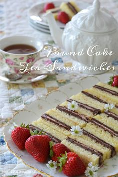 Pound Cake Tea Sandwiches - layers of chocolate buttercream and strawberry cream cheese sandwiched between layers of pound cake -- A Mad Tea Party : homeiswheretheboatis -- lovely set-up for the party (photos)! Tea Sandwiches, Cream Cheese Sandwiches, Finger Sandwiches, Afternoon Tea Recipes, Afternoon Tea Parties, Just Desserts, Dessert Recipes, Tea Party Desserts, Desert Recipes