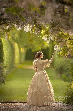 Victorian Woman Beneath A Wisteria Arbour Print By Lee Avison