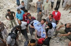 A man holdsthe body of child after digging it out from the rubble of a building destroyed during abombardment on the al-Marja neighborhood Aleppo on Sept. 23. (Ameer Alhalbi/AFP/Getty Images) The besieged Syrian city of Aleppo is a veritable mill of sickening videos and images: Children, torn i...