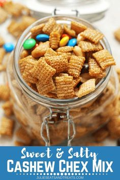 Looking for some travel snacks ideas? Try this Sweet & Salty Cashew Chex Mix. It's Easy Snack Mix Loaded with Cashews, Chex, M&Ms & Cashews and Smothered in Caramel! Save this easy homemade travel snack for later! Snack Mix Recipes, Dessert Recipes, Snack Mixes, Chex Recipes, Trail Mix Recipes, Tailgating Recipes, Caramel Recipes, Party Recipes, Deserts