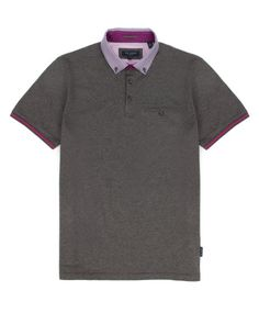 Woven collar polo - Gray Marl | Tops & T-Shirts | Ted Baker