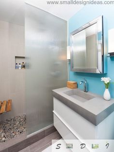 clean & colorful bathroom idea blue wall floating white vanity concrete composit countertop undermount concrete sink blurred glass door panel mosaic stones floors grey ceramic tiles shower walls of Great Choices of Fancy Colors for A Small Bathroom Modern Bathroom Tile, White Bathroom Decor, Modern Shower, Modern Bathroom Design, Contemporary Bathrooms, Bathroom Colors, Bath Design, Small Bathroom, Colorful Bathroom