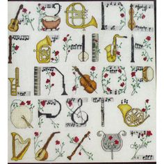 MUSICAL ALPHABET Cross Stitch Kit Musical Instruments ABC Sampler Susan Heiss by NeedleLittleTherapy on Etsy Cross Stitch Music, Cross Stitch Alphabet, Butterfly Pillow, Crewel Embroidery Kits, Vintage Cross Stitches, Dmc Floss, Niece And Nephew, Stitch Kit, Linen Fabric