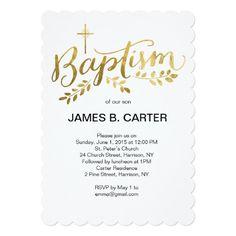 124 best baptism invitations images on pinterest christening baptism gold foil cross invitation stopboris Image collections