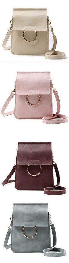 Girls Vintage Solid Color Crossbody Bag Smartphone Bag Little Shoulde Bag