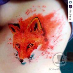 Watercolor fox tattoo done by Tavarestattoo.com