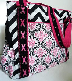 READY TO SHIP Pink Damask and Chevron by BrookeVanGoryDesigns, $109.99