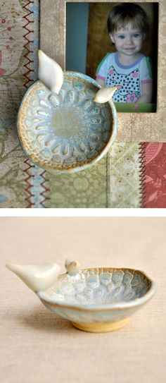 Mama and Baby Bird ceramic bowl from Lee Wolfe Pottery — for Mothers Day