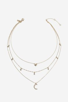 Moon And Star Multi-Row Necklace