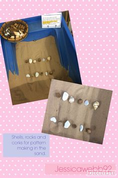Using shells, corks and stones to crate patterns in the sand. EYFS