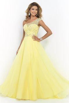 2015 One Shoulder A Line Prom Dress Beaded Tulle And Chiffon Court Train USD 153.99 BAPPYTCJBD - BallProm.com