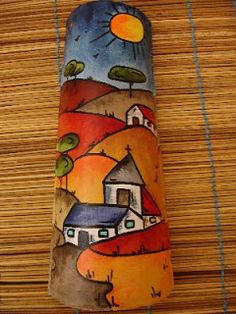 This Pin was discovered by Sed Clay Wall Art, Clay Art, Tole Painting, Painting On Wood, Pintura Tole, Fan Blade Art, Ceramic Roof Tiles, Bamboo Art, Tile Crafts
