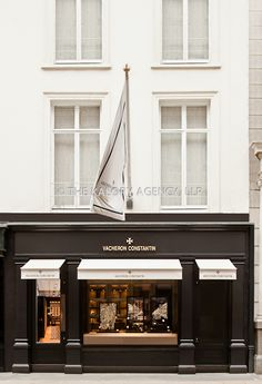 Facade store front and exterior photographer of Swiss Watch brand Vacheron Constantin luxury boutique on Old Bond street in Mayfair London UK Facade Design, Exterior Design, Architecture Design, London Architecture, Boutique Design, Cades, Deco Cafe, Retail Facade, Deco Restaurant