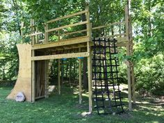 Outdoor Jungle Gym, Backyard Jungle Gym, Backyard Playground, Backyard For Kids, Playground Ideas, Kids Ninja Warrior, Ninja Warrior Course, American Ninja Warrior, Backyard Obstacle Course