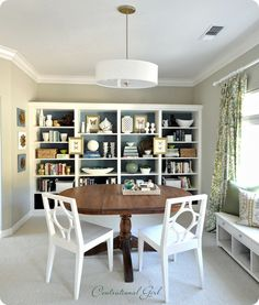 Whoa.  This Centsational Girl bookcase wall is eerily reminiscent of John and Sher-Dog's dining room on YoungHouseLove.  Great minds must really think alike!  And I like 'em both!