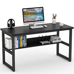 Computer Desk LASUAVY Office Study Desk Computer PC Laptop Table Workstation with Steel Frame and Bookshelf for Home Office Black Wood Grain Simple Computer Desk, Simple Desk, Computer Desks, Modern Home Office Furniture, Home Office Desks, Bookshelf Desk, Bookshelves, Laptop Table, Open Shelving