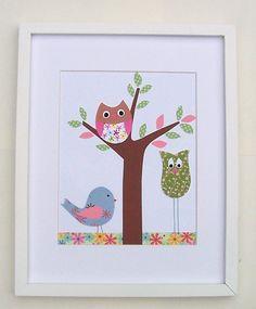 Nursery Art Print, Baby Girl Art, Nursery Decor, Kids Walll Art, Owls, Brooke, Best Friends, 8x10 Art Print. $14.00, via Etsy.
