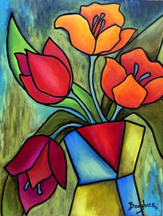 Canvas Art Projects, Diy Canvas Art, Acrylic Painting Canvas, Acrylic Art, Oil Pastel Drawings, Oil Pastel Art, Art Drawings, Cubism Art, Stained Glass Flowers