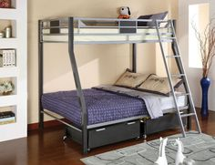 Furniture of America Cletis Contemporary Silver Gun Metal Finish Twin over Full Bunk Bed with Underbed Drawers Bunk Beds With Drawers, Bunk Bed With Desk, Metal Bunk Beds, Bunk Beds With Stairs, Cool Bunk Beds, Kids Bunk Beds, Twin Full Bunk Bed, Full Size Bunk Beds, Kids Toddler Bed