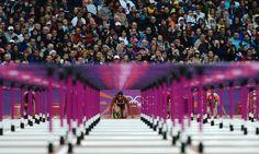 Nevin Yanit of Turkey at the start of her 100m Hurdles semi final