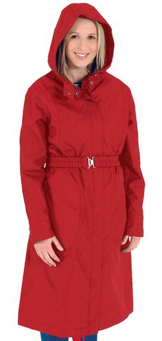 Moa Gear Mimi raincoat - with a hood and a belt for figure definition in a storm. Also in navy. New Zealand Winter, Winter Coats, Raincoat, Belt, Navy, Jackets, Color, Style