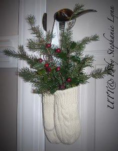 Mitten Door Hanger, this is not exactly but close to the idea I saw, would be cute