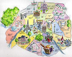 Illustration d'une carte de Paris